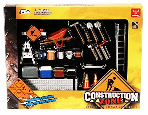 Construction Zone - Phoenix Garage Diorama Accessory Set 18425 - 1/24 scale diecast car diorama accessory (Phoenix Models compare prices)