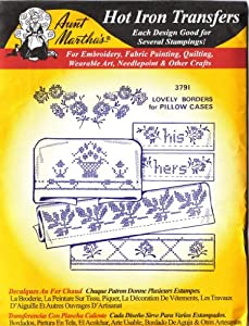 Lovely Borders for Pillow Cases Aunt Martha's Hot Iron Cross Stitch Embroidery Transfer