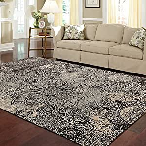 Ustide floral pattern grey living room rug for Living room rugs amazon