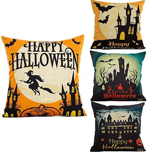 ERT 4-Pack Happy Halloween Cotton Linen Square Burlap Decorative Throw Pillow Case Cushion Cover Bat Pumpkin