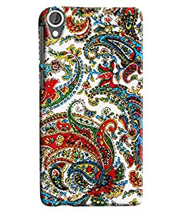 Blue Throat Jaipuri Ambi Pattern Printed Designer Back Cover For HTC Desire 820