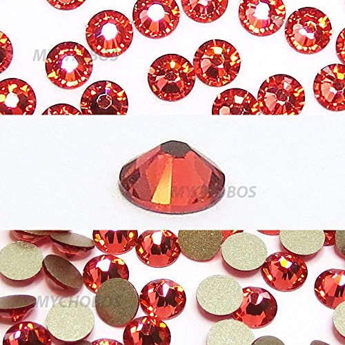 PADPARADSCHA (542) red Swarovski 2058 Xilion Rose 7ss 2.2mm flatback No-Hotfix rhinestones ss7 nail art 144 pcs (1 gross) *FREE Shipping from Mychobos (Crystal-Wholesale)*
