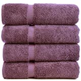 Luxury Hotel & Spa Towel 100% Genuine Turkish Cotton (Bath Towel  - Set of 4, Plum)