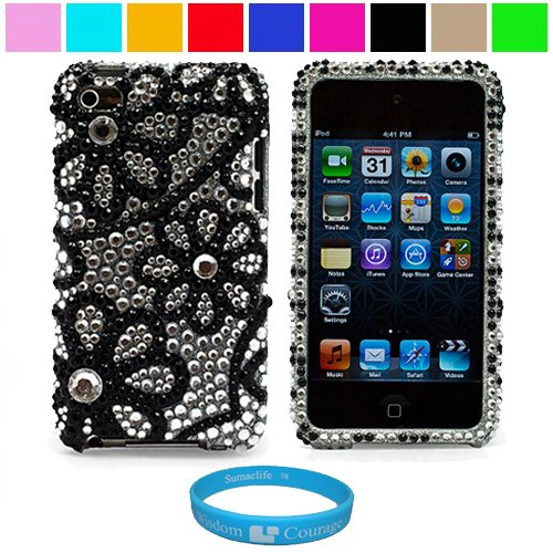 Premium Two Piece Rhinestone Design Protective Cover Case for iPod Touch 4th Generation + SumacLife TM Wisdom Courage Wristband, Black White Flower