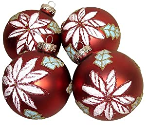"Set 4 Matte Red Poinsettia Glass Ball Christmas Ornaments 3.25"" #68765800000"