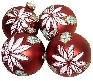 "Set 4 Matte Red Poinsettia Glass Ball Christmas Ornaments 3.25"" #68765800000"
