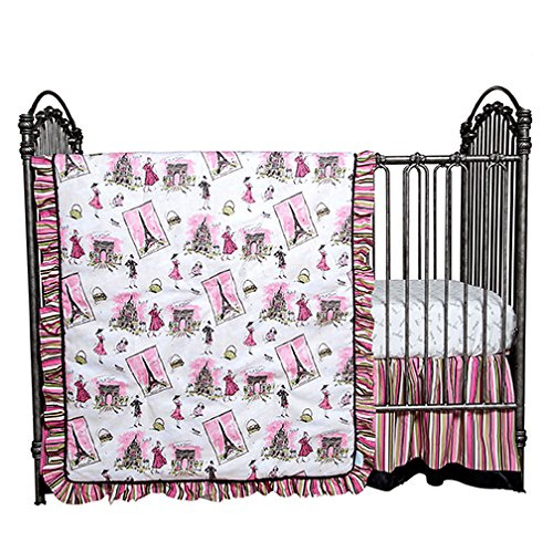Waverly Tres Chic 3 Piece Crib Bedding Set Paris, Eifel Tower Quilt, Sheet, Skirt Baby Girl
