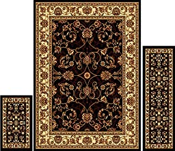 Home Dynamix   Ariana Collection   3-Piece Area Rug Set - Ultra Soft & Super Durable   HD812-657    Ebony/Ivory