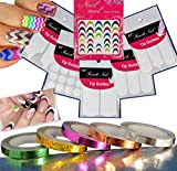 11 pcs Nail Art Chevron Decorative Stripping Tape / White Tip Guides Various Styles / Colorful 3D Stickers
