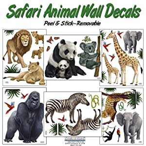 Safari Animal Wall Decals- (30) Jungle Animal Wall ...