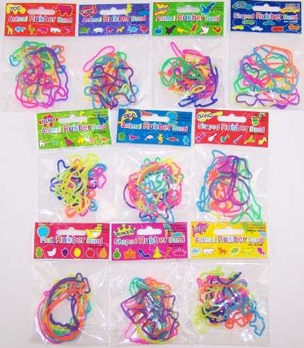 120 Shaped Rubber Bandz Lot - (10 Packs of 12 Bands) Musical, Farm, Garden, Dress, & Sea Bandz