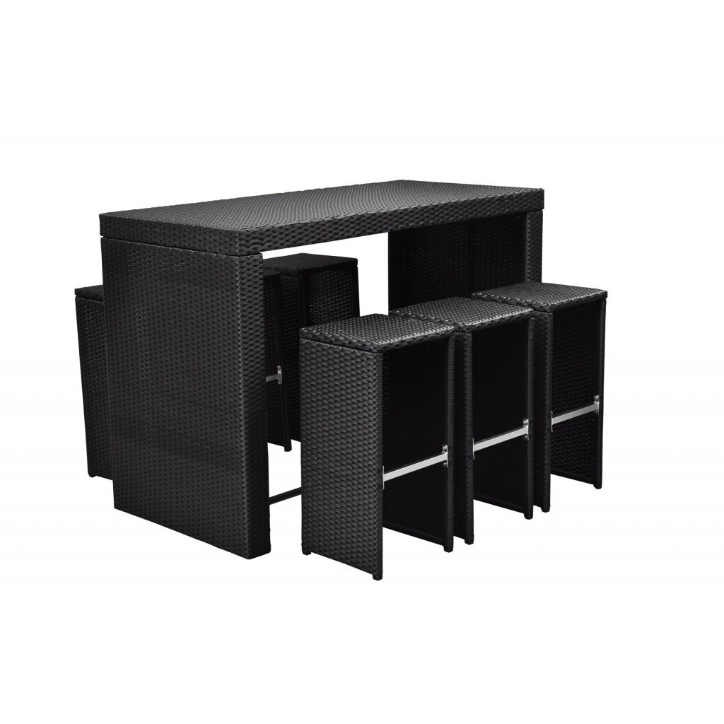 vidaXL Poly Rattan Möbel Bar in schwarz