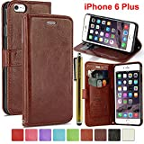 LK iPhone 6 Plus Case – iPhone 6 Plus 5.5inch Wallet PU Leather Case Flip Cover Built-in Card Slots & Stand + Free Screen Protector & Stylus Pen (Brown)