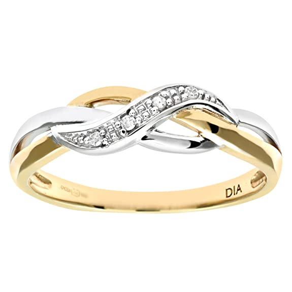 Naava Ladies 9ct Yellow Gold Fancy Diamond Crossover Ring