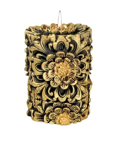 Volcanica Dendritic Pillar Candle, Black/Gold, Small