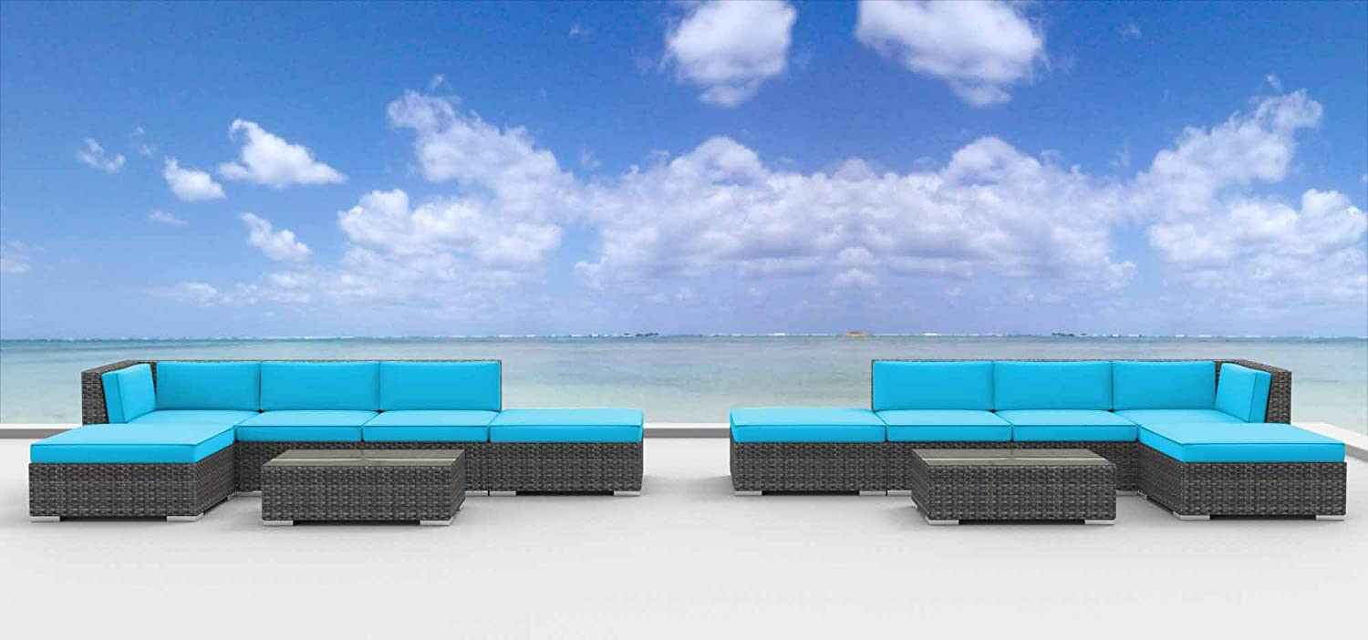 www.urbanfurnishing.net Urban Furnishing - LAGUNA 12pc Modern Outdoor Backyard Wicker Rattan Patio Furniture Sofa Sectional Couch Set - Sea Blue at Sears.com