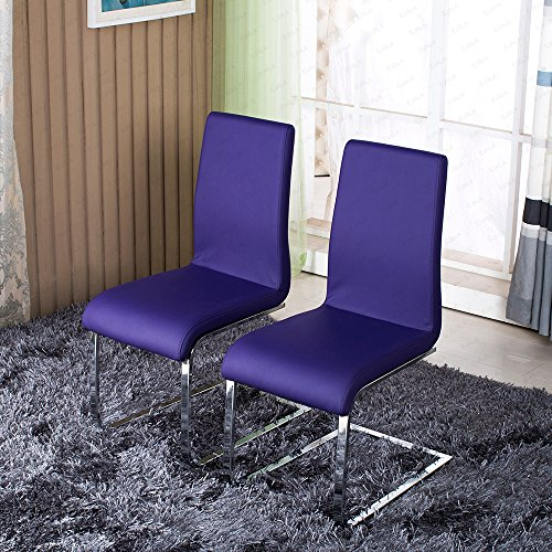 Schindora 2x Dining Chair Faux Leather Dining Chairs With Chrome Legs  Furniture (Purple)