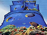 Luk Oil Home Textile,3D Effect Beautiful Underwater World Environmental Printing Personalized Fashion Bedding Double Size 4Pcs Bedding Set 100% Cotton