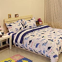 Auvoau Kids Bedding Set, Sharks Fishes Ocean Themed Stripe Kids Boys Duvet Cover Sets (4pc without comforter)