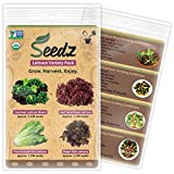 TOP-SELLING Certified Organic Seeds - Lettuce Variety Pack - Includes Four Types of Lettuce Seeds - Heirloom Seeds - Non GMO, Non-Hybrid Vegetable Seeds - USA