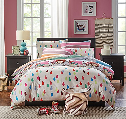 FADFAY Home Textile,Colorful Raindrop Bed Linen Rainbow Stripe Bedding Sweet House Kids Bedding Set
