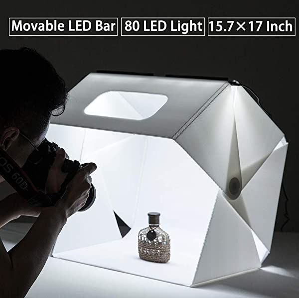 Slowbeat Foldable 15.7 x 17 Photo Studio LED Booth Light Box Shooting Tent Light Kit for E-Commerce Shooting - Including LED Light Set/USB Cable/White/Black Backgrounds