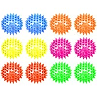 Set Of 12 Light Up Led Mini Spiked Ball Squeaking Squeezable Childrens Kids Toy Ball (Colors May Vary)