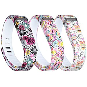 i-smile® 3PCS Replacement Bands with Metal Clasps for Fitbit Flex / Wireless Activity Bracelet Sport Wristband / Fitbit Flex Bracelet Sport Arm Band (No tracker, Replacement Bands Only) & 2PCS Silicon Fastener Ring For Free (Tatoo Flowers&Colorfull Flowers&Cute Owles, Large)