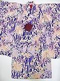 (ノーブランド品)袖の長~いアンティーク着物 子ども用 正絹 紫色地に糸菊模様