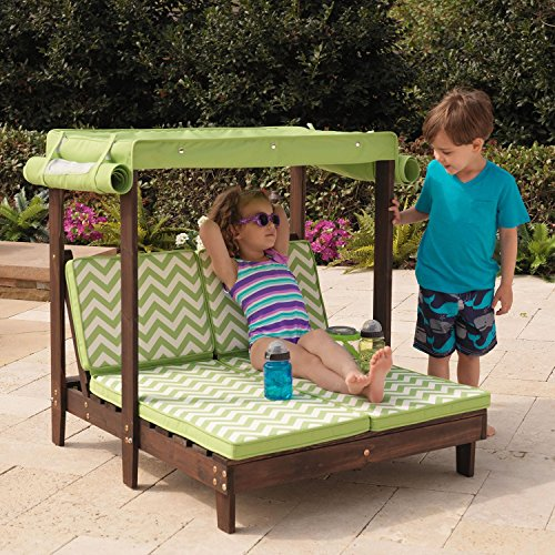 KidKraft Outdoor Double Chaise Chairs Lounge Chair with Canopy