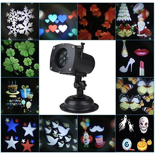 YIBANBAN Paesaggio Proiettore lampada da giardino 12 Sostituibile Modello Decorative Luci natalizie Luci di Halloween Natale Interno/ Esterno Impermeabile