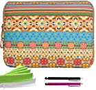 ColorYourLife Bundle of Canvas Fabric Tablet Laptop Sleeve Case Bag for iPad 2/3/4 Samsung GALAXY Note 10.1 (2014 Edition) and 10-inch tablets with 2 Stylus Pens and Microfiber Cleaning Cloths (Colorful Bohemian pattern, 10 inch)