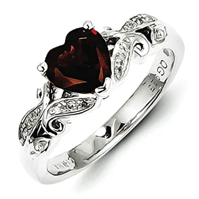 Sterling Silver Diamond and Garnet Ring - Ring Size Options Range: L to R