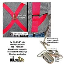 "Red Trucker Style Side Clip Hip-clip Series Suspenders in 1 1/2"" Width"