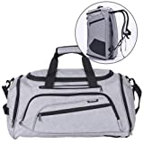 SIYUAN Men Sports Gym Bag Womens Fitness Bag Athletic Duffel Bag Exercise Training Backpack with Shoes Compartment,Gray,Large (Color: grey new, Tamaño: Large)