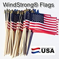 Lot of -50- 4x6 Inch US American Hand Held Stick Flags Spear Top WindStrong® Made in the USA by American Flag Superstore