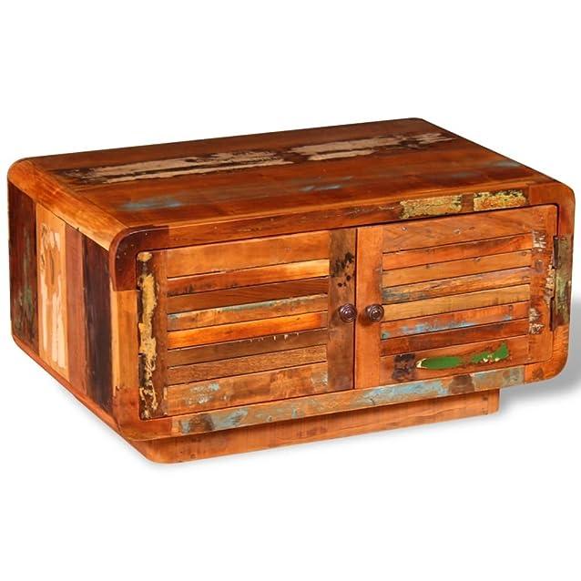 VidaXL–Tavolino basso da salotto legno di recupero massiccio 80x 50x 40cm