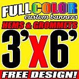 3' X 6' Full Color Printed Custom Banner 13oz Vinyl Hems & Grommets Free Design By BannersOutlet USA