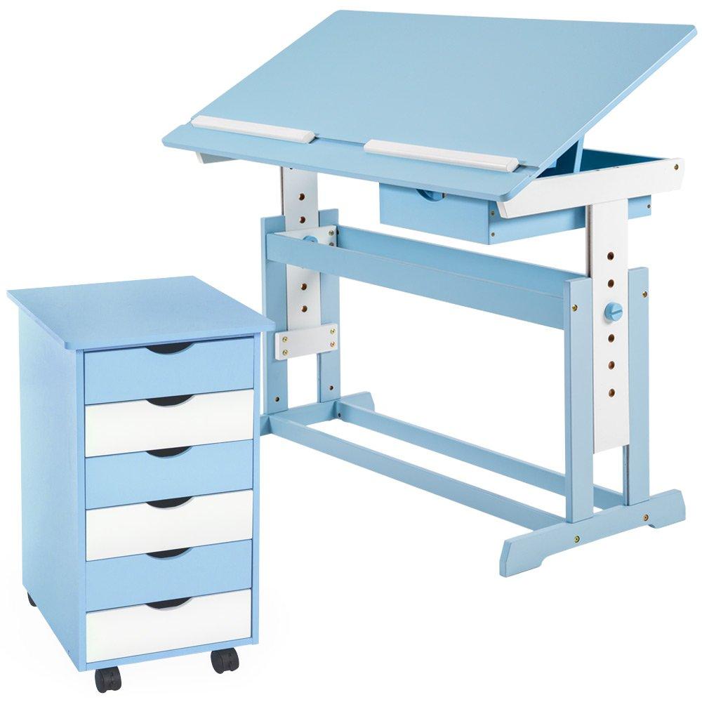TecTake Kinderschreibtisch mit Rollcontainer Schreibtisch neig- & höhenverstellbar blau / weiß jetzt bestellen