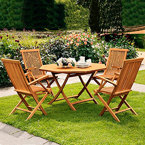 Gärtner Pötschke TEAK-Sitzgruppe Elegance (4Stühle + Achteck-Tisch)