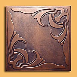 Antique Ceilings Inc - Monaco Copper Graphite - Styrofoam Ceiling Tile (Package of 10 Tiles)