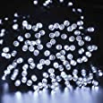lederTEK Decorative Solar Christmas Lights White 200 LED 72ft 8 Modes Fairy String Light for Outdoor, Lawn, Indoor Decor, Home, Patio, Outside Garden, Wedding, Party, Holiday, Seasonal Decorations
