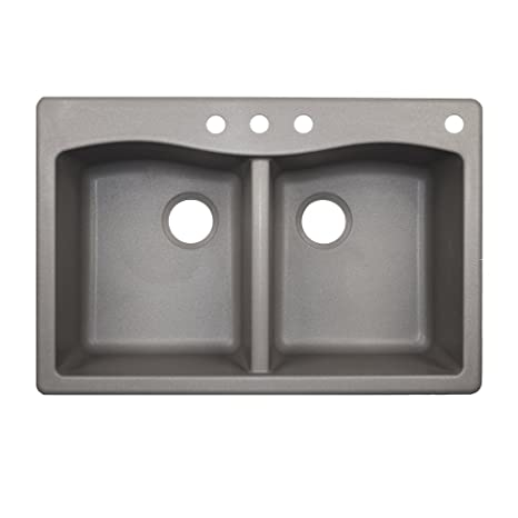 Swaoi|#Swanstone QZ03322ED.173-4 22-In X 33-In Granite Kitchen Sink 4-Hole, Metallico,