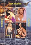 Top Models - Elizabeth Hurley, Eva Herzigova, Valeria Mazza et feuille de timbre Naomi Campbell avec 4 timbres - non montés