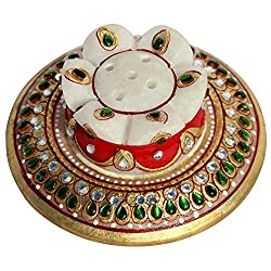 Handicrafts Paradise Kundan Embellished Marble Incense Holder