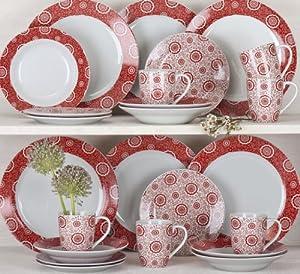 24 Piece Kensington Red Dinner Set