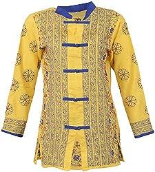 ALMAS Lucknow Chikan Women's Cotton Regular Fit Kurti (Yellow and Blue)