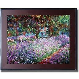 Artist\'s Garden at Giverny by Monet Mahogany & Black Framed Canvas (Ready-to-Hang)