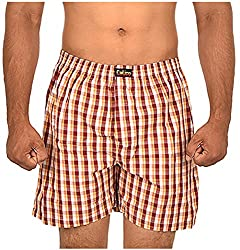 CALICO Men's Cotton Boxers (CAL_20_L, Red and Off-White, L)
