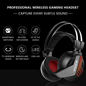 HUHD USB Wireless Gaming Headset for PS4 PC Computer Nintendo Switch 3.5mm Wired Stereo Gaming Headphones for Xbox one Mic Mute (Color: S2)
